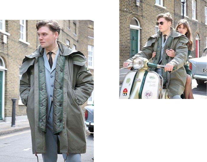 Wearing a men's parka like a modern dandy